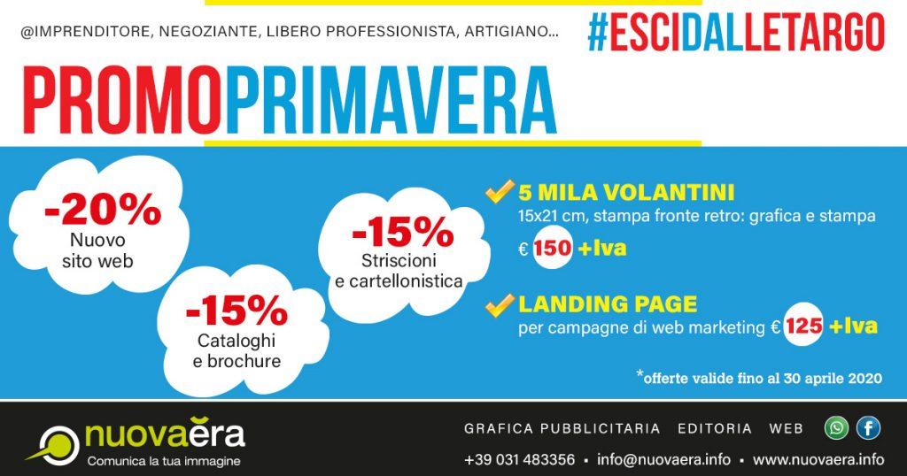 -15% cataloghi e brochure, -15% striscioni e cartellonistica, -20% nuovo sito web