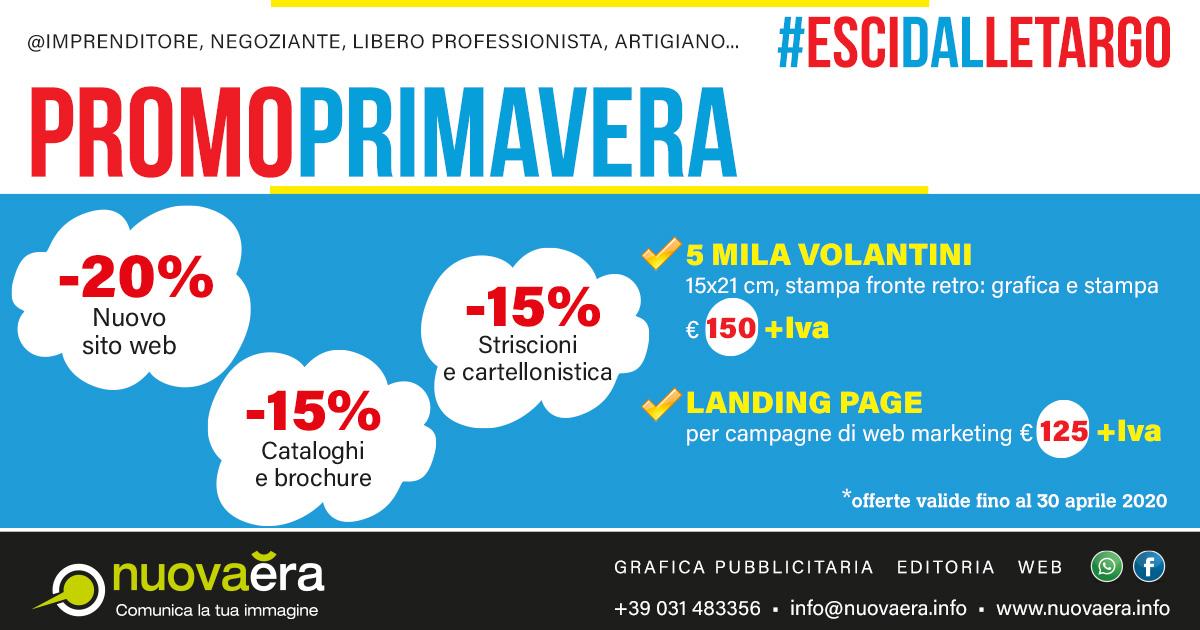 Promozione primavera: -15% cataloghi e brochure, -15% striscioni e cartellonistica, -20% nuovo sito web